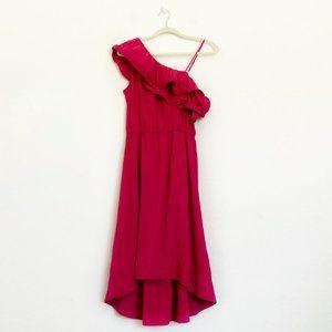 H&M Pink Ruffle One Shoulder Sleeve Midi Dress
